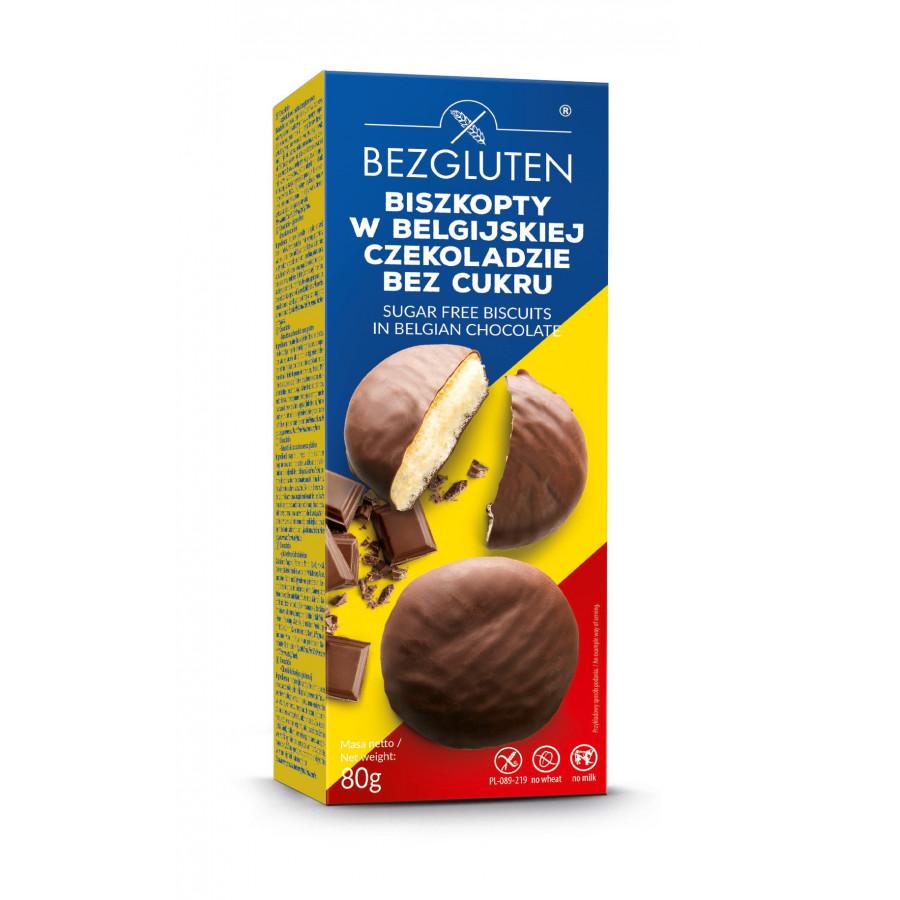 Biszkopty w belgijskiej czekoladzie bez cukru bezglutenowe 80 g.