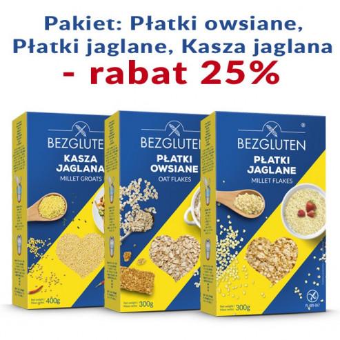 ZESTAW: Płatki owsiane, płatki jaglane, kasza jaglana - rabat 25%
