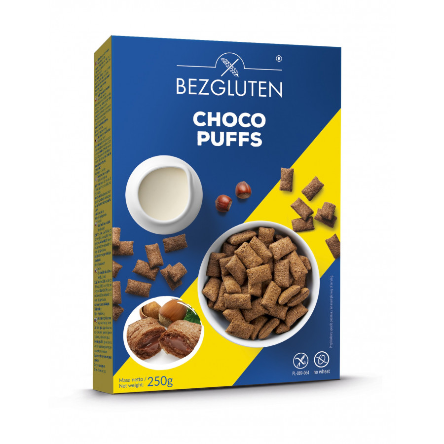 Choco Puffs - kakaowe poduszeczki z nadzieniem z orzechów laskowych bezglutenowe.