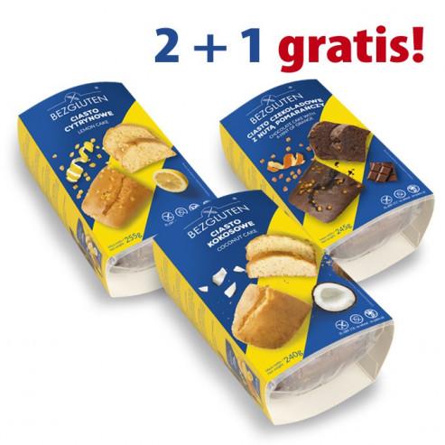 PAKIET 2 + 1 gratis  - ciasto czekoladowe z nutą pomarańczy, ciasto cytrynowe, ciasto kokosowe