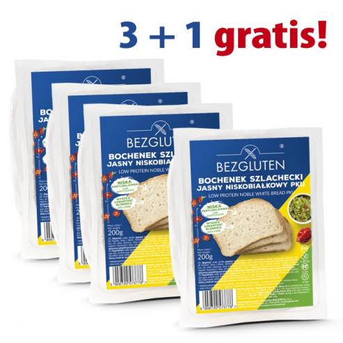 PAKIET 3+1 gratis PKU Bochenek Szlachecki jasny niskobiałkowy 4 x 200g