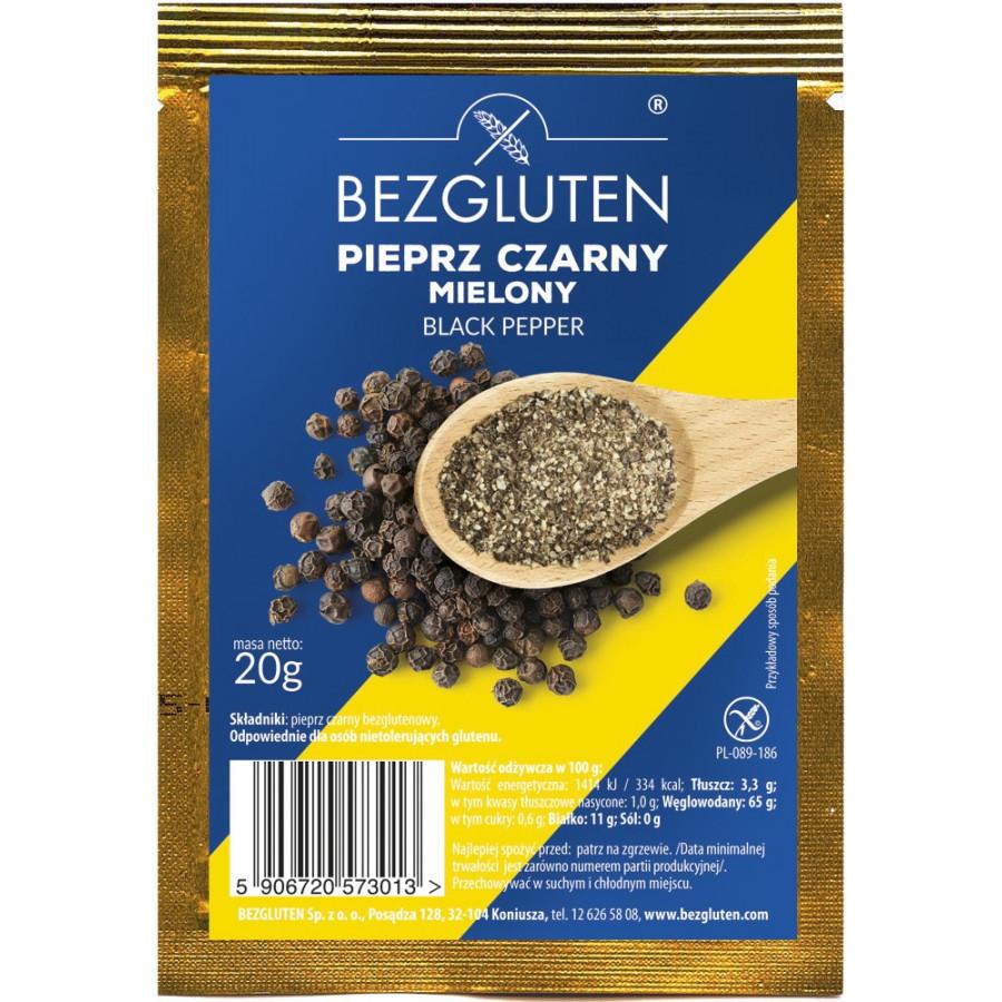 Pieprz czarny mielony. Produkt naturalnie bezglutenowy.