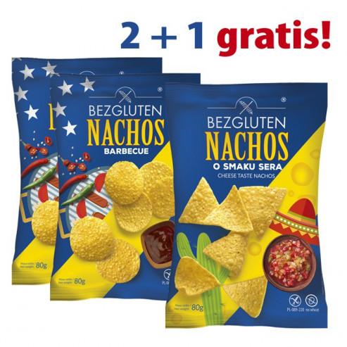 PAKIET 2+1 gratis Nachos o smaku sera 2x + Nachos barbecue 1x