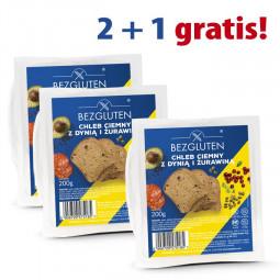 PAKIET 2+1 gratis Chleb ciemny z dynią i żurawiną 3X200g