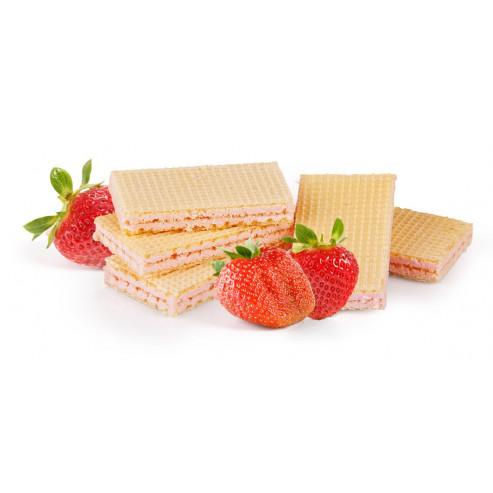 Wafelki z nadzieniem o smaku truskawkowym niskobiałkowe PKU