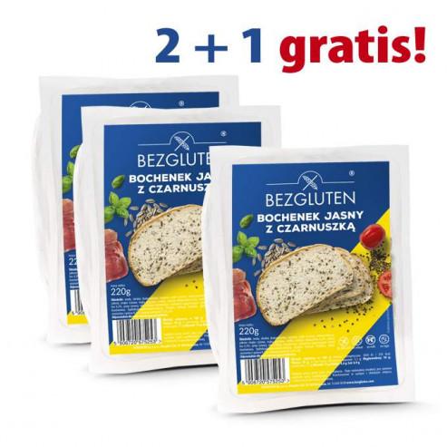 PAKIET 2+1 gratis! Bochenek jasny z czarnuszką – 3 x 220g