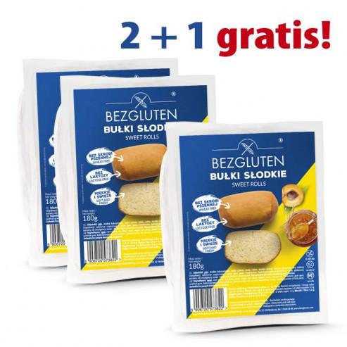 PAKIET 2+1 GRATIS! Bułki słodkie bezglutenowe 3x180 g