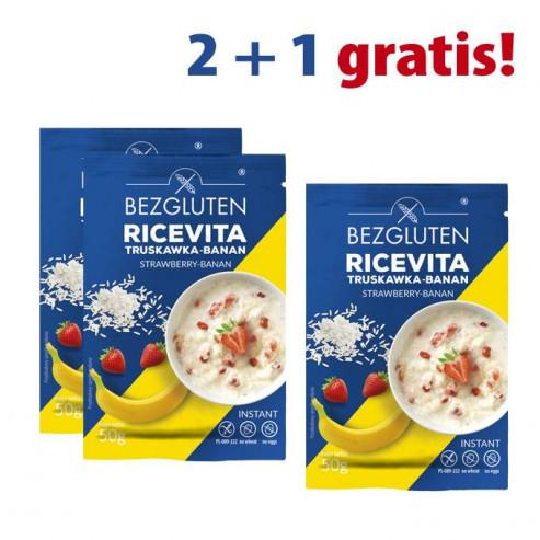 PAKIET 2+1 gratis! Ricevita truskawka-banan bezglutenowa 3x50g