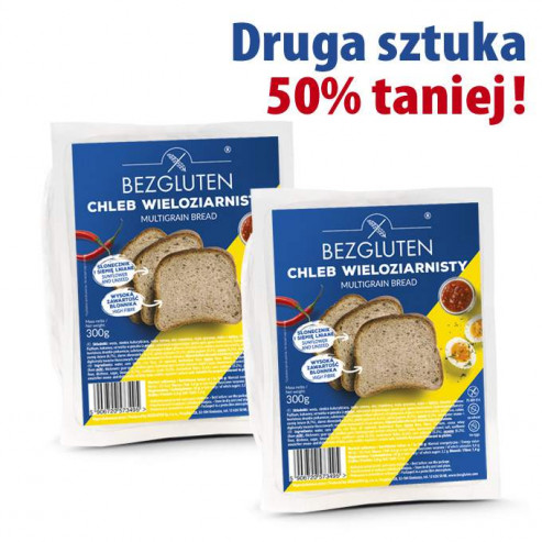 PAKIET Chleb wieloziarnisty bezglutenowy 300 g - druga sztuka 50% taniej