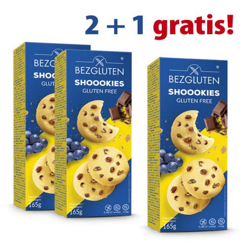 PAKIET 2+1 gratis Shoookies - ciasteczka z  kawałkami mlecznej czekolady i rodzynkami bezglutenowe.
